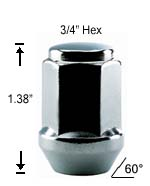 1-Pc Bulge Acorn 1/2 R.H. Lug Nut